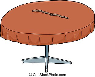 Illustration of isolated round table with stick on top