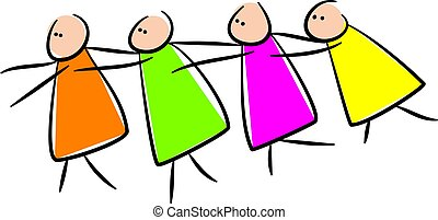 Simple whimsical style illustration of a group of four stick characters following each other.