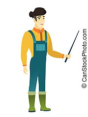 stick., puntatore, asiatico, presa a terra, contadino