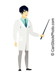stick., puntatore, asiatico, presa a terra, dottore