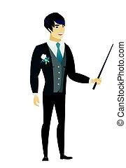 stick., sposo, puntatore, asiatico, presa a terra