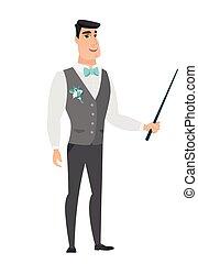 stick., sposo, puntatore, caucasico, presa a terra