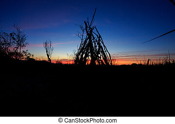 Stick Tipi at Sunset on Oregon Beach