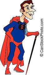 stick., vettore, superhero