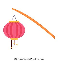 stick with chinese lantern icon, colorful flat design