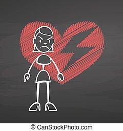 Stick woman heart broken on chalkboard