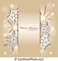 stickande, jul, bakgrund, snöflinga