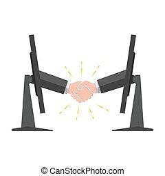 stickande, monitor., handslag, illustration., vektor, ute