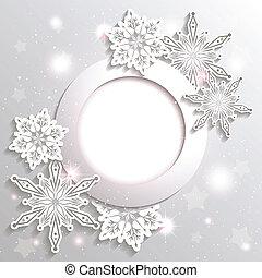 stickande, stjärna, jul, bakgrund, snöflinga