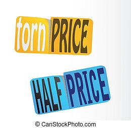 sticker., 価格, vector., 半分