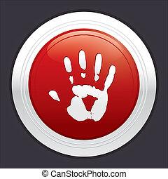 sticker., 止まれ, button., 手, ベクトル, ラウンド, 赤