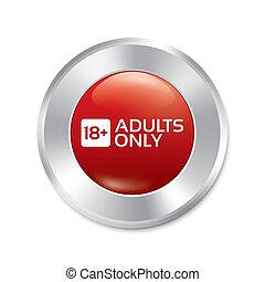 sticker., adulti, isolated., età, button., soltanto, limite