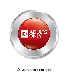 sticker., adultos, isolated., edad, button., solamente, límite