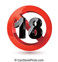 sticker., adults, sign., ххх, запрет, знак, содержание, только, 18, предел, под, icon., возраст