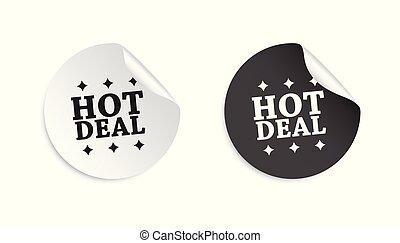 sticker., affare, affari, metta un'etichetta vendita, illustrazione, etichetta, fondo., caldo, vettore, bianco