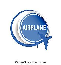 sticker airplane blue vector illustration