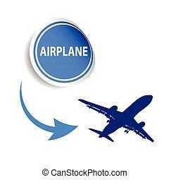 sticker airplane blue vector