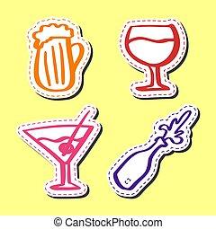 Sticker alcohol hand drawn set flat style