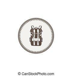 sticker., ao ar livre, design., acampamento, vindima, mochila, isolado, remendo, vetorial, aventura, fundo, ícone, desenhado, icon., mão, branca, estoque