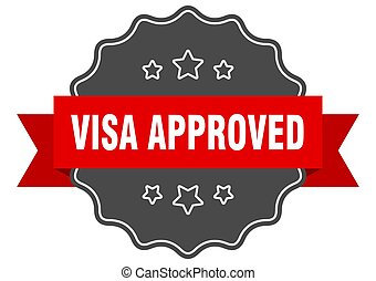 sticker., aprobado, señal, seal., aislado, label., visa