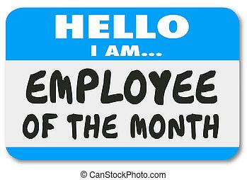 sticker, arbeider, werknemer, bovenzijde, label, naam, maand, best
