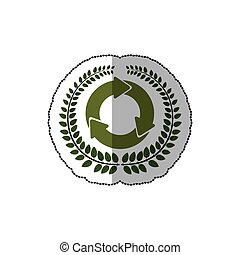 sticker arch of leaves with circular recycling symbol