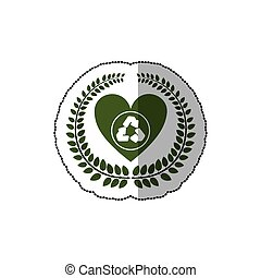 sticker arch of leaves with heart and recycled symbol