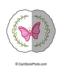 sticker arch of leaves with pink butterfly