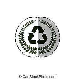 sticker arch of leaves with recycled symbol