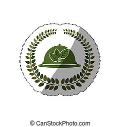 sticker arch of leaves with tableware cover