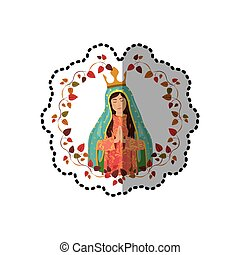 sticker arch of leaves with virgin of guadalupe