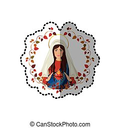 sticker arch of leaves with virgin of immaculate heart of...