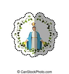sticker arch of leaves with virgin of miracles