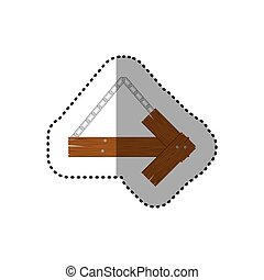 sticker arrow right shape wooden sign board with chains