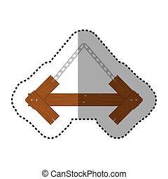 sticker arrow shape wooden sign board with chains