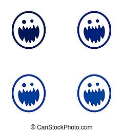 Sticker assembly bright monster with sharp teeth on white ...