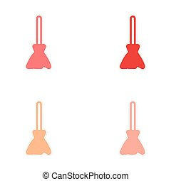 Sticker assembly stylish bright broom on a white background