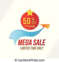 sticker., av, mega, erbjudande, försäljning, lägenhet, 50, papper, airplane., vektor, röd, mall, emblem, eps10, speciell