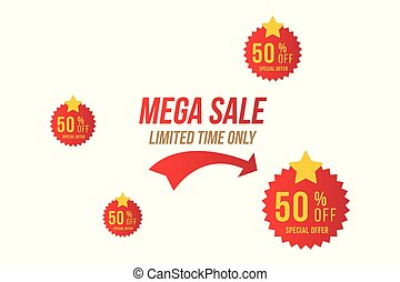 sticker., av, mega, lägenhet, försäljning, offer., 50, vektor, röd, mall, emblem, eps10, speciell