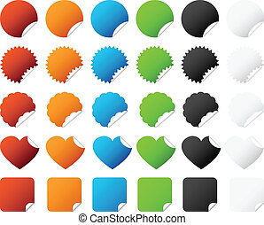Sticker Badge Set Vector - A set of colorful sticker badge...