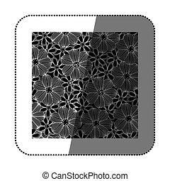 sticker black background with white contour flowers set