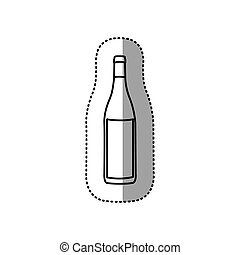 sticker black contour of glass bottle vector illustration