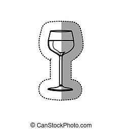 sticker black contour of glass cup