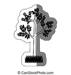 sticker black silhouette tree leafy with grass