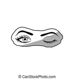 sticker black silhouette Winking woman's eyes