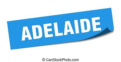 sticker., blaues quadrat, adelaide, schäler, zeichen