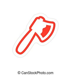 Sticker bloody ax on a white background