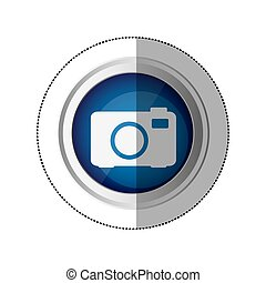 sticker blue circular button with silhouette analog camera ...