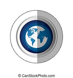 sticker blue circular button with silhouette globe earth world map