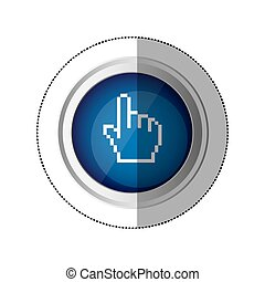 sticker blue circular button with silhouette pixelated hand pointing up